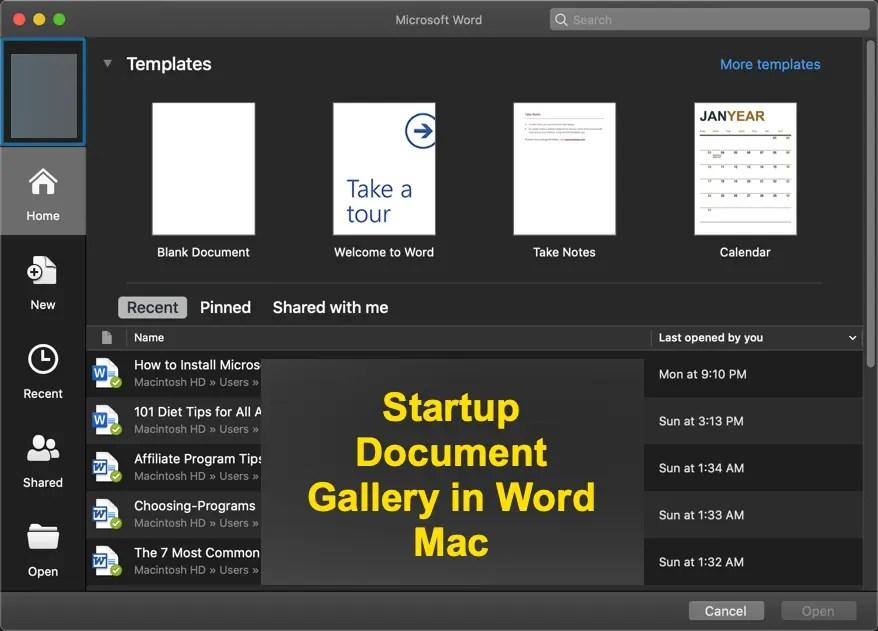 Галерея стартовых документов в Word Mac