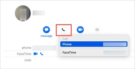 Звонок с Mac в Контактах