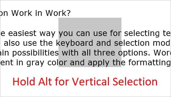Удерживайте Alt для вертикального выделения