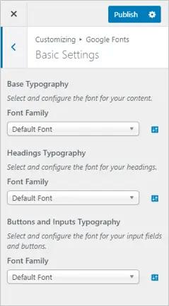Основные настройки плагина Fonts