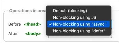 Неблокирующие параметры JS