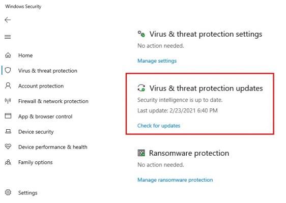 Проверка и обновление файлов защиты от угроз