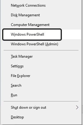 Откройте Windows PowerShell.