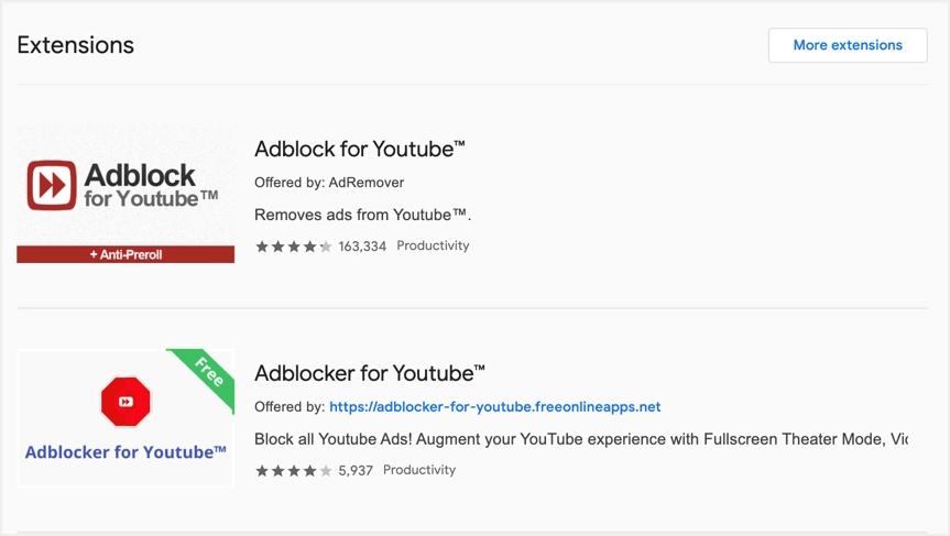 Расширения блокировщика рекламы