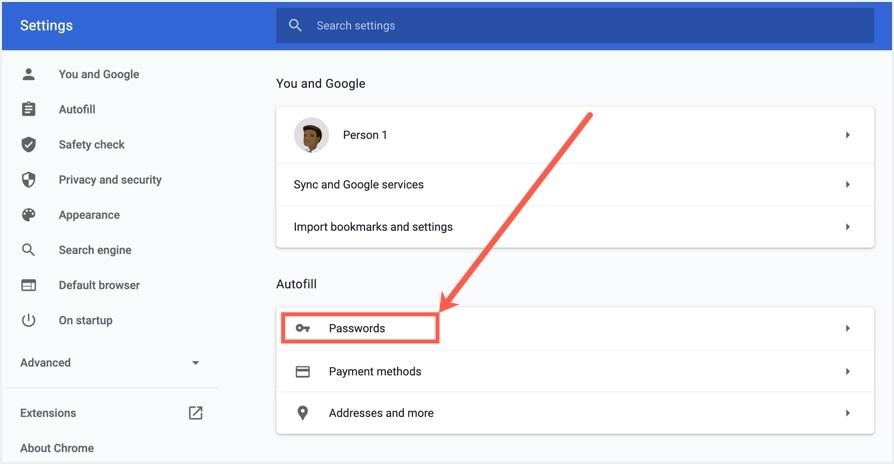 Настройки пароля Google Chrome на рабочем столе