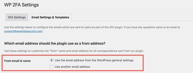 Выберите адрес электронной почты администратора или настраиваемый адрес электронной почты