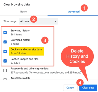 Удалить историю и файлы cookie в Chrome