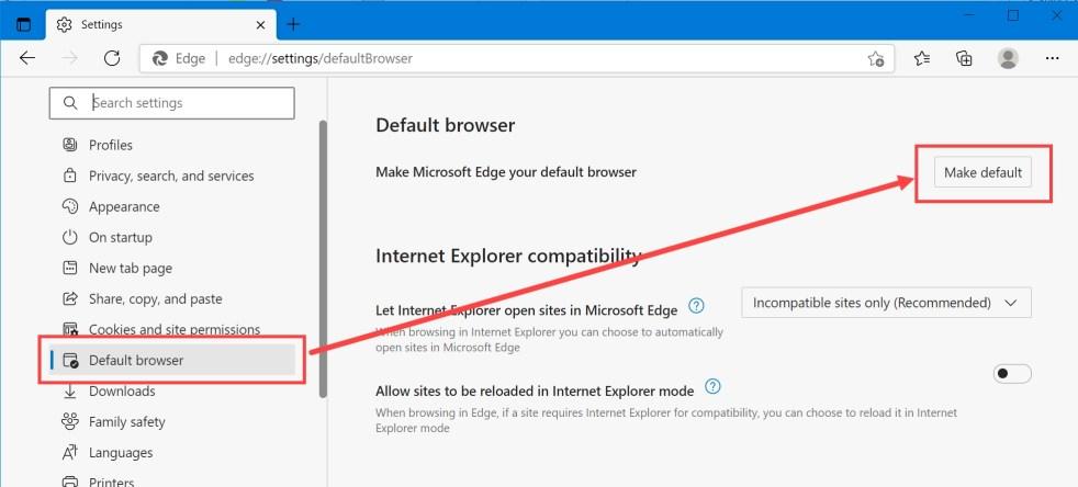 Сделать Edge браузером по умолчанию