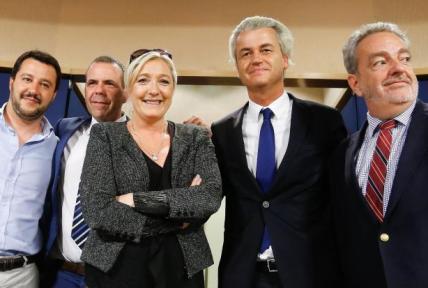 <br /> Fröhlich vereinte Rechtspolitiker in Brüssel: Matteo Salvini von der italienischen Lega Nord, FPÖ-Mann Harald Vilimsky aus Österreich, Front-National-Parteichefin Marine Le Pen, der niederländische Rechtspopulist Geert Wilders und der Vlaams-Belang-Vorsitzende Gerolf Annemans aus Belgien (v.l.n.r.)</p> <p>