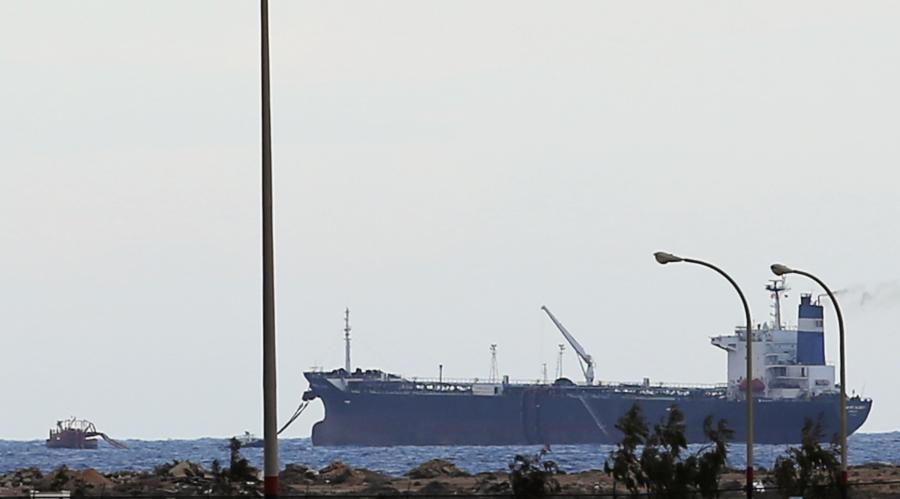 A North Korean-flagged tanker is docked at the Es Sider export terminal in Ras Lanuf