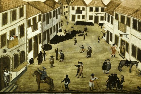 <br /> Sklaverei war kein Ausweis von Rückständigkeit, sondern Modernität: Auf Sklavenmärkten wie diesem wurden im 17. Jahrhundert die Arbeitskräfte für die Plantagen der Neuen Welt gehandelt.<br />