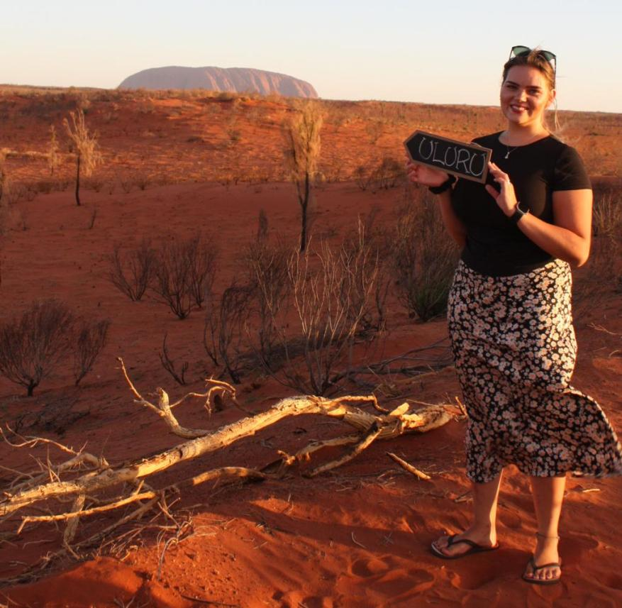 Line Sophia Schallmayer also came near Uluru on her journey through Australia.  The mountain is sacred to the Aborigines