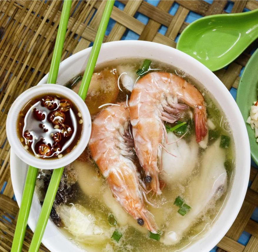 In Singapore, over 6000 Hawker cook Asian specialties, such as fish porridge and seafood soup
