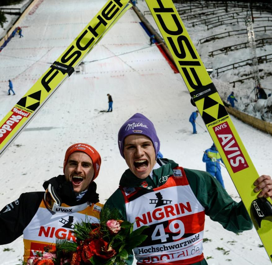 December 2017: Richard Freitag (left) and Andreas Wellinger celebrate first and second place at the World Cup in Titisee-Neustadt