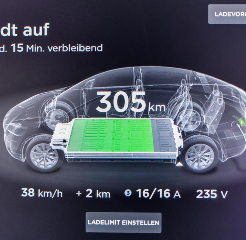 Charge status: display in a Tesla