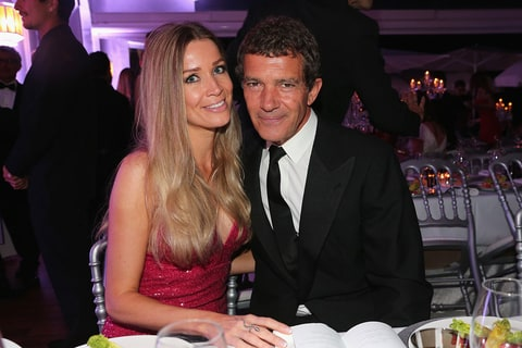 Nicole Kempel and Antonio Banderas attend the De Grisogono party during the 68th annual Cannes Film Festival on May 19, 2015 in Cap d'Antibes, France