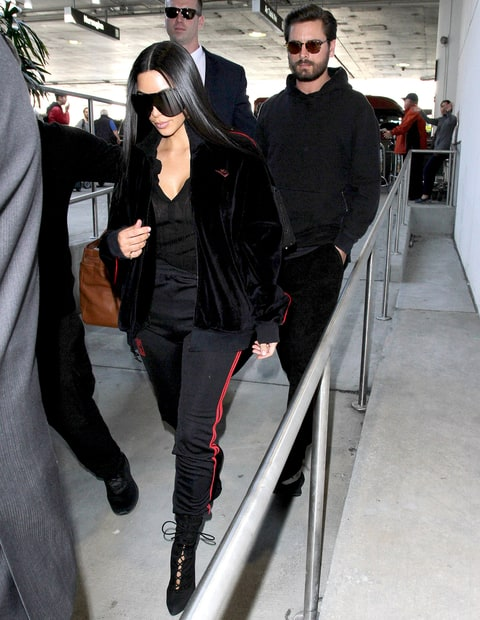 Kim Kardashian at LAX with Scott Disick.