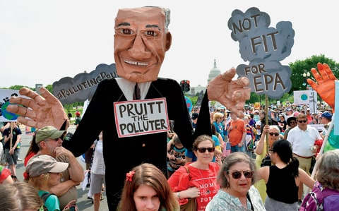 Anti-Pruitt protesters at the People's Climate March.