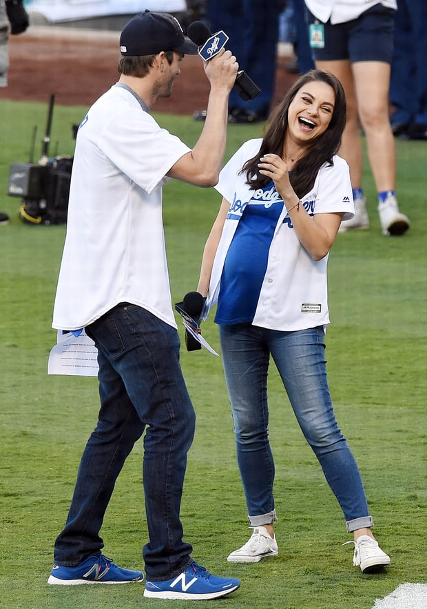 Pregnant Mila Kunis Shows Off Baby Bump At Dodgers Game
