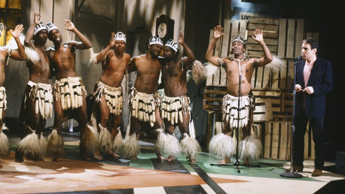 Paul Simon and Ladysmith Black Mambazo perform on Saturday Night Live in New York City on May 10th, 1986.