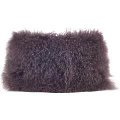 Mongolian Lamb Fur Lumbar Pillow Color: Grey