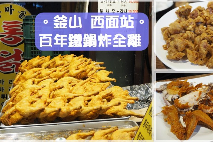 釜山西面站美食∥ 二訪超好吃的百年鐵鍋炸全雞백년가마솥통닭-炸雞外皮酥脆調味很香,強力推薦必點炸雞胗!