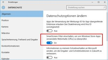 SmartScreen Filter unter Windows 10 deaktivieren