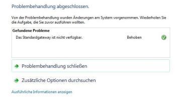 Standardgateway unter Windows nicht verfügbar