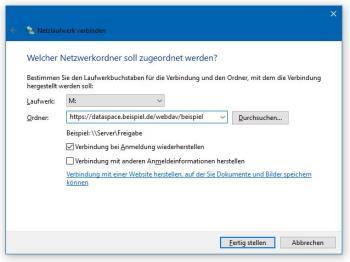 Unter Windows 10 WebDAV einrichten