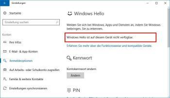 Die Systemvoraussetzungen, um Windows 10 Hello zu aktivieren