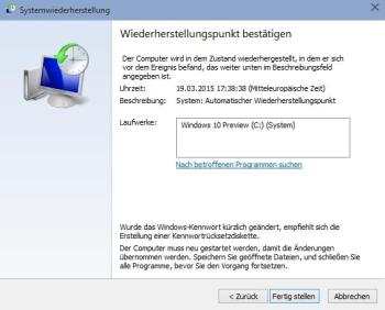 Systemwiederherstellung unter Windows 10 durchführen