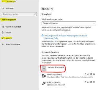 Ändern Sie die Sprache in Windows 10