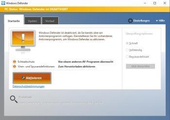 Windows 10: Defender aktivieren