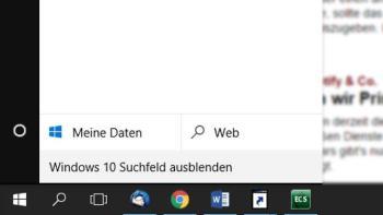 Windows 10 das Cortana-Suchfeld in der Taskleiste verkleinern
