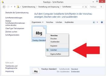 Windows: Schriftart löschen