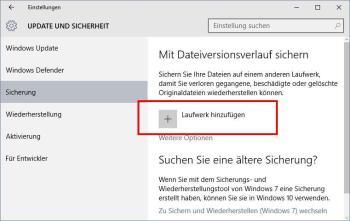Windows 10: Dateiversionsverlauf aktivieren
