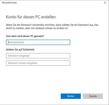 Windows 10: Benutzer hinzufügen