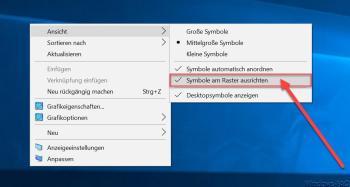 Die automatische Sortierung der Icons auf dem Desktop: