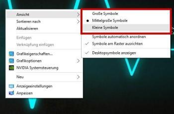 Über die Windows – Einstellungen die Icon – Größe ändern (Größe bereits vordefiniert):