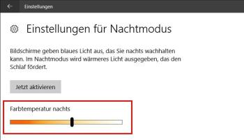 Windows 10: Nachtmodus anpassen