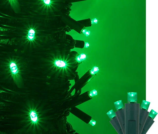 Kringle Traditions 5mm Green Led Christmas Lights On Green Wire