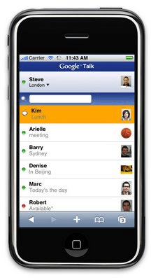 Iphone Gtalk text browser