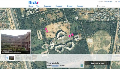 Flickr geotagging NSIT Map