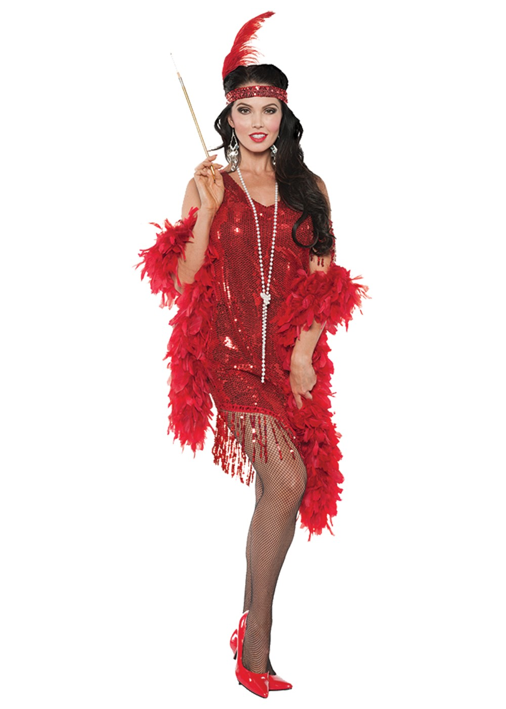 Swingin Red Flapper Women Costume 1920s Costumes