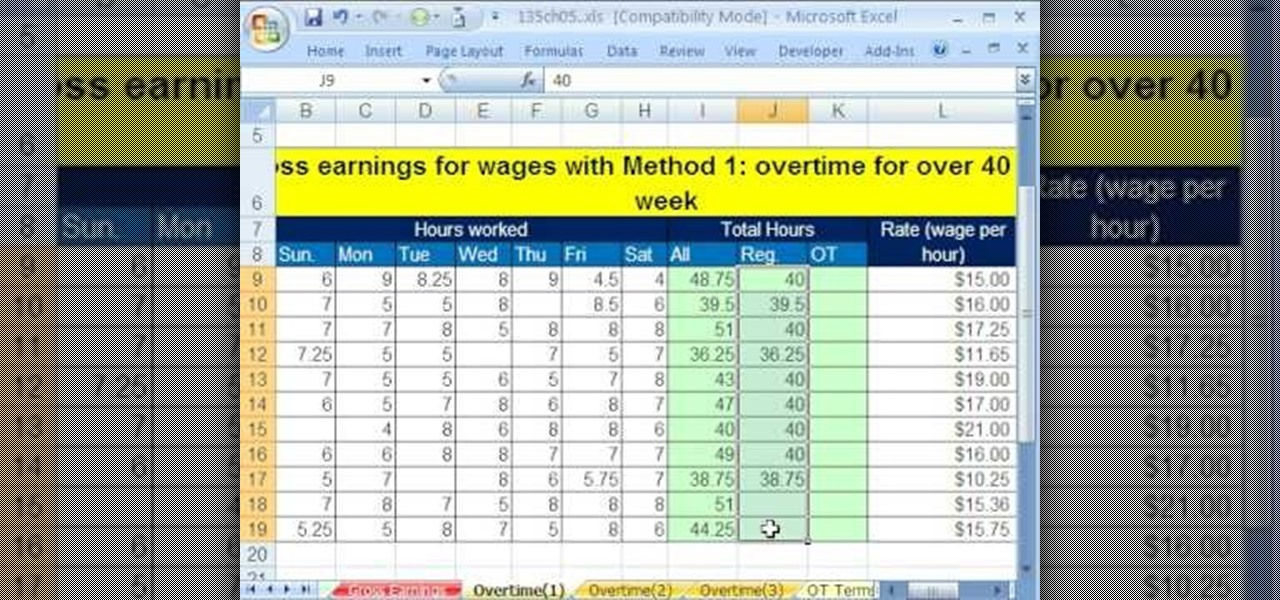 How to Calculate gross and overtime pay in Microsoft Excel     How to Calculate gross and overtime pay in Microsoft Excel      Microsoft  Office    WonderHowTo