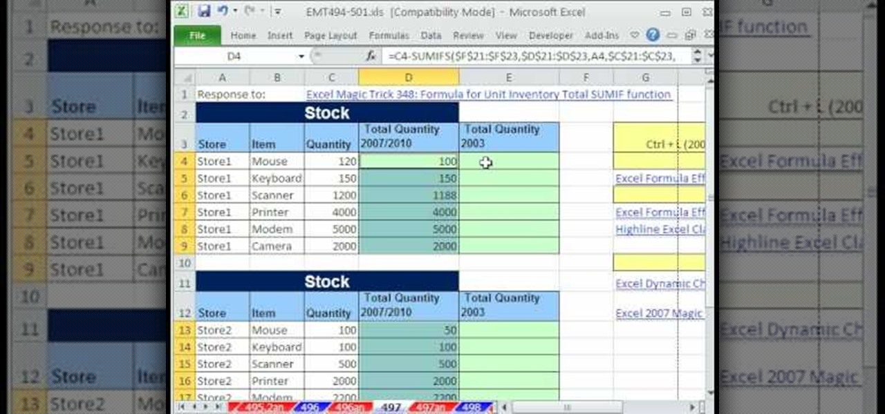 How to Use SUMIFS or SUMPRODUCT to get invoice info in Excel     How to Use SUMIFS or SUMPRODUCT to get invoice info in Excel      Microsoft  Office    WonderHowTo