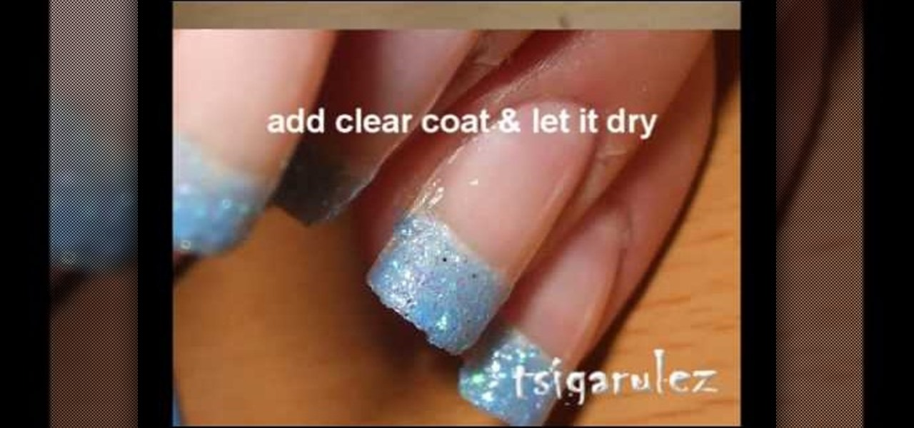 How To Paint Your Nails With Blue Glitter Black Nail Polish Manicure Wonderhowto