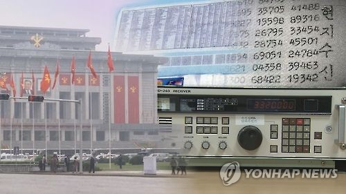 This undated image capture from Yonhap News TV shows a building in Pyongyang and mysterious numbers presumed to be a broadcast for North Korean spies operating in South Korea. (Yonhap)