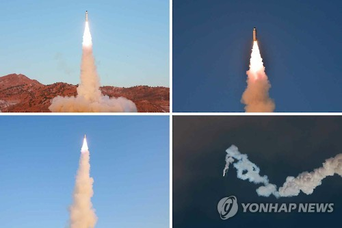 This photo carried by North Korea's main newspaper, the Rodong Sinmun, on Feb. 13, 2017, shows the test-firing of a new intermediate-range ballistic missile, known as the Pukguksong-2, in North Korea. (For Use Only in the Republic of Korea. No Redistribution) (Yonhap)