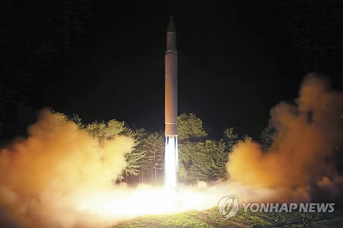 North Korea fires an intercontinental ballistic missile on July 28, 2017 in this photo released by the North's media. (AP-Yonhap)